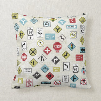 Construction Road Signs Pillow Throw Cushion