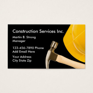 Construction Services With Hard Hat Business Card