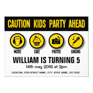 Construction Signs Caution Birthday Invitation