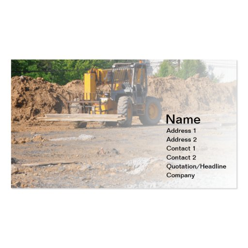 construction site and equipment business card template