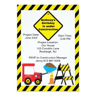 "Construction Site Boys Birthday Invitation 5"" X 7"" Invitation Card"