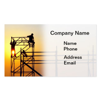 Construction Site with Workers at Sunset Pack Of Standard Business Cards