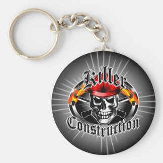 Construction Skull 3 With Red Hard Hat Basic Round Button Key Ring