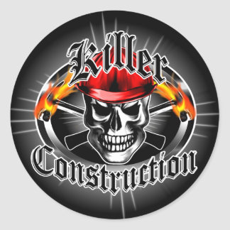 Construction Skull 3 With Red Hard Hat Classic Round Sticker