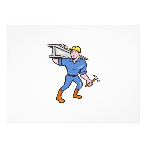 Construction Steel Worker Carry I-Beam Cartoon Custom Invitation