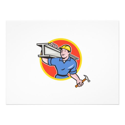 Construction Steel Worker Carry I-Beam Circle Cart Personalized Invite