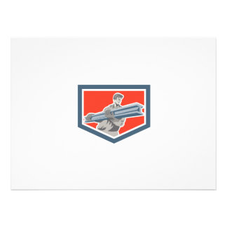 Construction Steel Worker Carrying I-Beam Shield R Personalised Invite