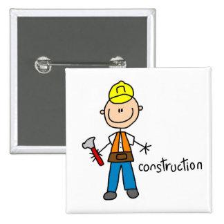 Construction Stick Figure Pinback Button
