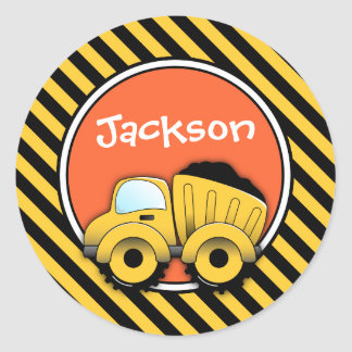 Construction Stickers, Dump Truck Birthday Classic Round Sticker