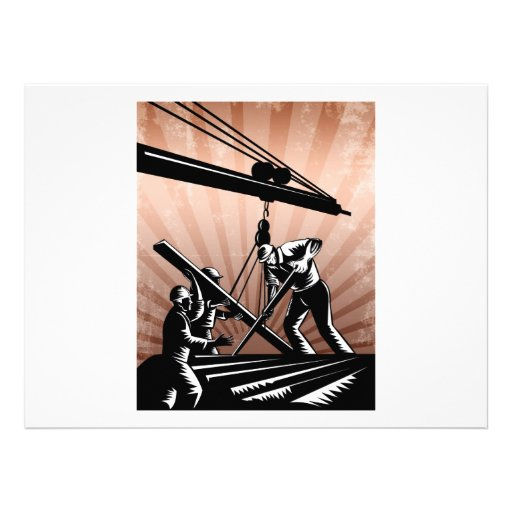Construction Team Workers Woodcut Retro Poster Personalized Announcement