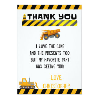 CONSTRUCTION THANK YOU CARD FOR BOYS