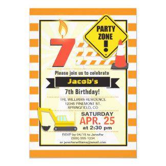 Construction Theme Kid's Birthday Party Invitation
