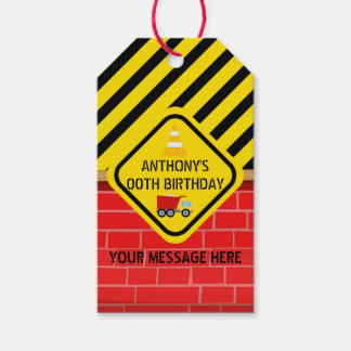 Construction Themed Birthday Party Gift Tags