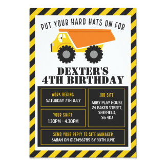 Construction themed birthday party invitation