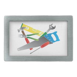 Construction Tools Colors Illustration Rectangular Belt Buckles