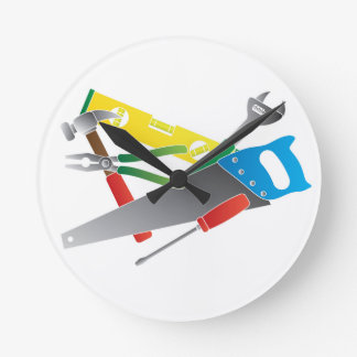 Construction Tools Colors Illustration Round Clock