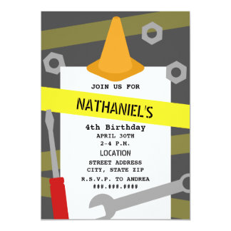 Construction Tools Orange Cone Birthday Party 5x7 Paper Invitation Card