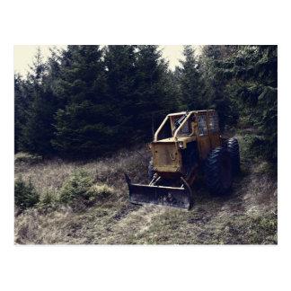 Construction tractor postcard