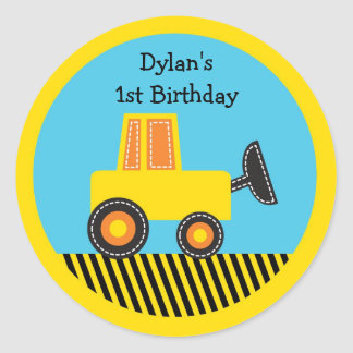 Construction Truck Baby Shower Classic Round Sticker