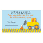 Construction Truck Diaper Raffle Tickets Pack Of Standard Business Cards
