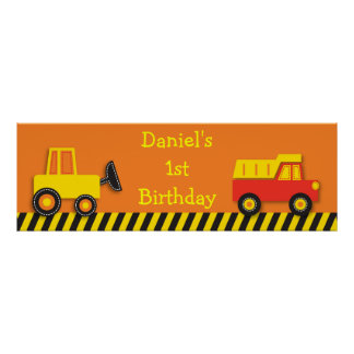 Construction Truck Personalized Banner Sign