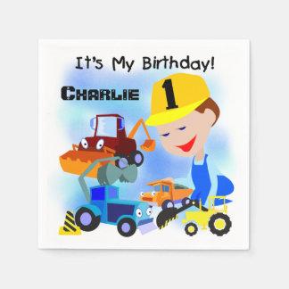 Construction Trucks 1st Birthday Paper Napkins Disposable Napkin