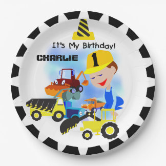 Construction Trucks 1st Birthday Paper Plates 9 Inch Paper Plate