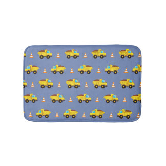Construction trucks and traffic cones bath mat
