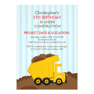 Construction trucks Birthday Party for boys Announcements