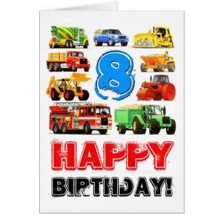 Construction Trucks Boy's 8th Birthday Greeting Card