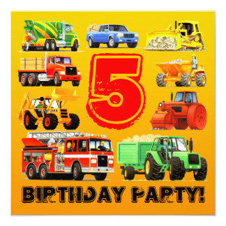 Construction Trucks for Boy's 5th Birthday Party 13 Cm X 13 Cm Square Invitation Card