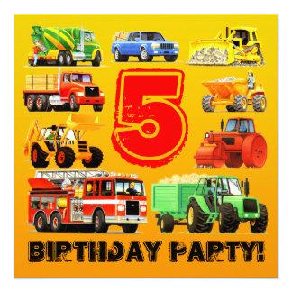 Construction Trucks for Boy's 5th Birthday Party 13 Cm X 13 Cm Square Invitation Card