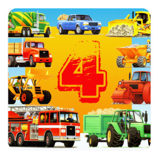 Construction Trucks Kid's 4th Birthday Party Card