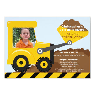 Construction trucks Photo Birthday Party for boys 13 Cm X 18 Cm Invitation Card