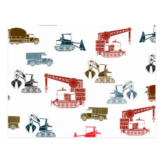Construction Vehicle Pattern Postcard