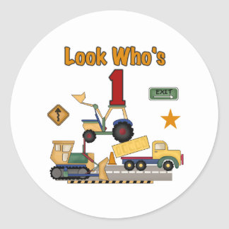 Construction Vehicles 1st Birthday Round Sticker