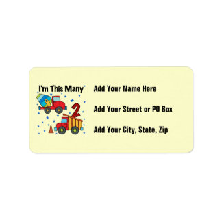 Construction Vehicles 2nd Birthday Gifts Address Label