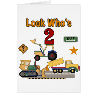 Construction Vehicles 2nd Birthday Greeting Card