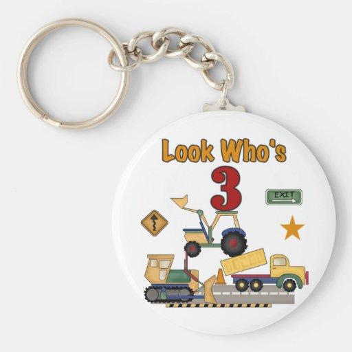 Construction Vehicles 3rd Birthday Tshirts Basic Round Button Key Ring
