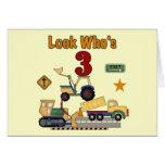 Construction Vehicles 3rd Birthday Tshirts Greeting Card