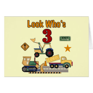 Construction Vehicles 3rd Birthday Tshirts Cards