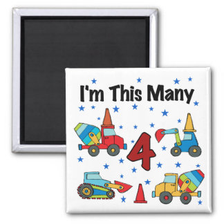 Construction Vehicles 4th Birthday T-shirts Square Magnet