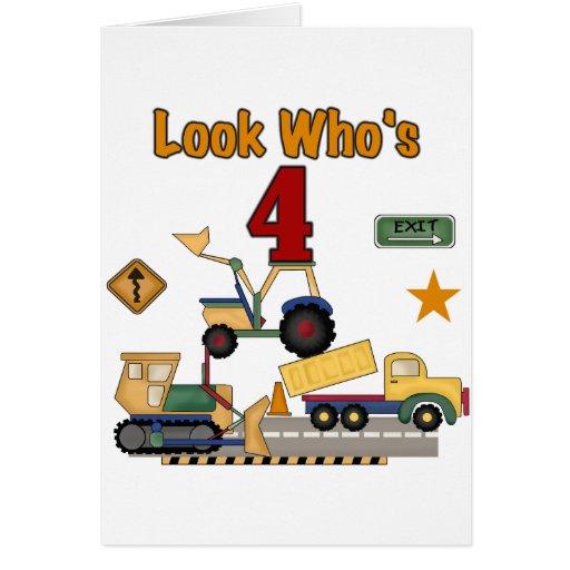 Construction Vehicles 4th Birthday Tshirts Greeting Card