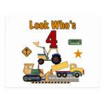 Construction Vehicles 4th Birthday Tshirts Postcard