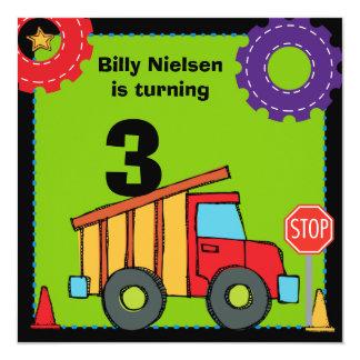 Construction Vehicles Dump Truck Birthday Invites