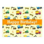 Construction Vehicles Pattern, Happy Birthday Post Card