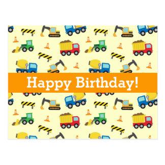 Construction Vehicles Pattern, Happy Birthday Postcard