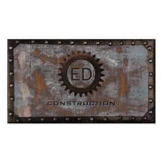 Construction Vintage Monogram Rusty Grunge Metal Pack Of Standard Business Cards