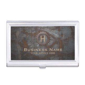 Construction Vintage Monogram Rusty Metal Business Card Holder