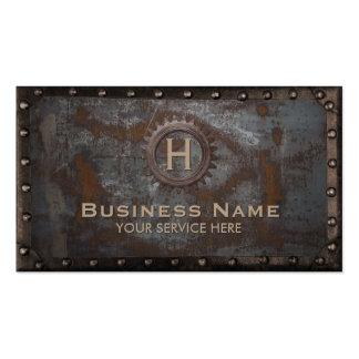 Construction Vintage Monogram Rusty Metal Pack Of Standard Business Cards